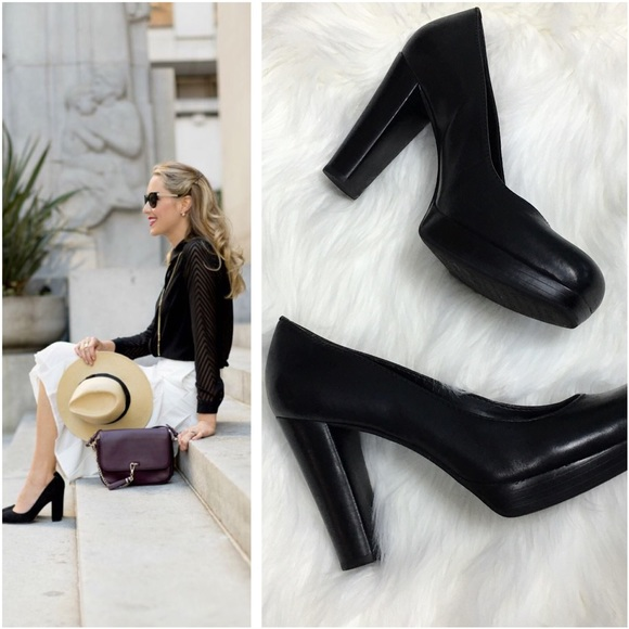 b4f8daa89d9b Gianni Bini Shoes - Chunky Block Heel Office Wear Pumps Black Leather